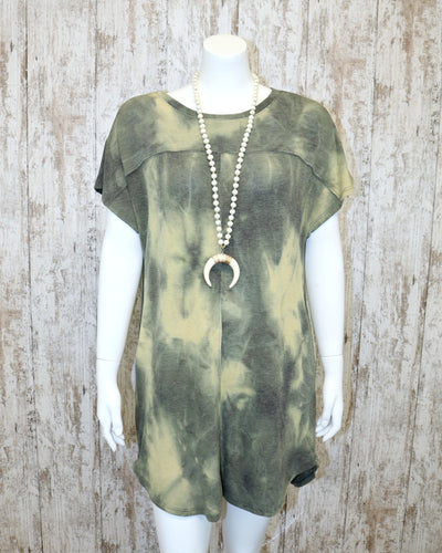 Short Slv Roumd Neck Tie Dye Dress 6A3390