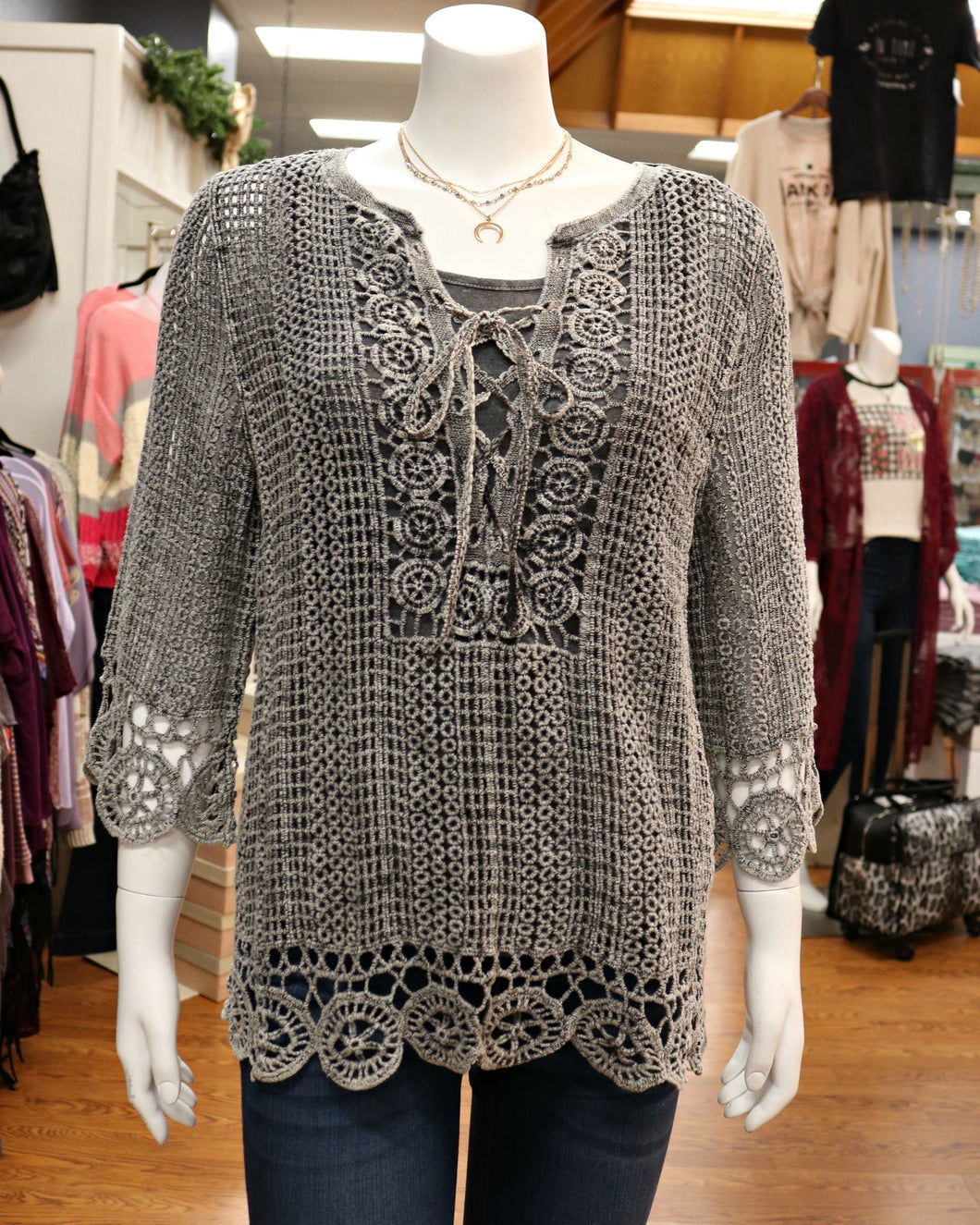 Crocheted Woven Three Qtr Slv Top w Criss Cross Tie at Neck