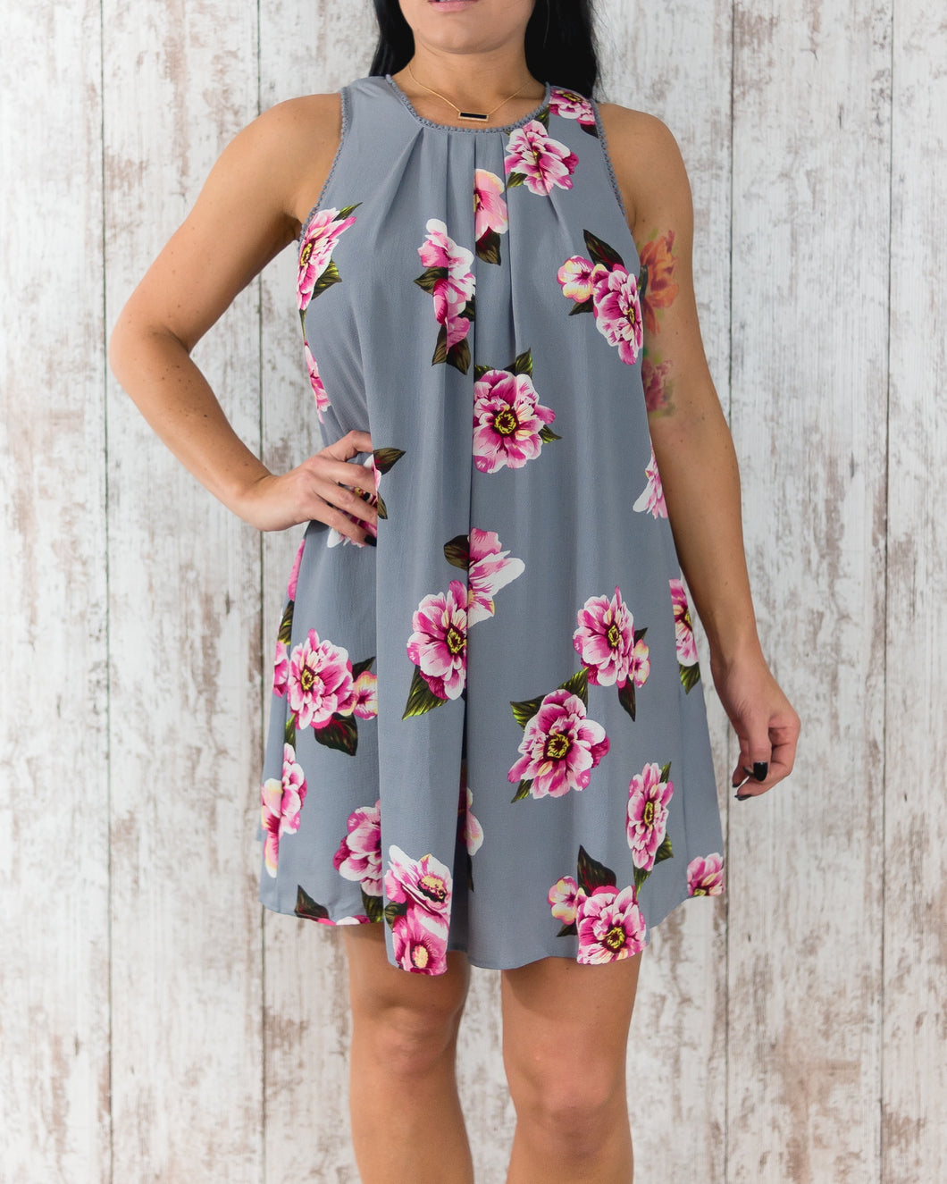 Floral Print Sleeveless Keyhole Dress with Crochet Details