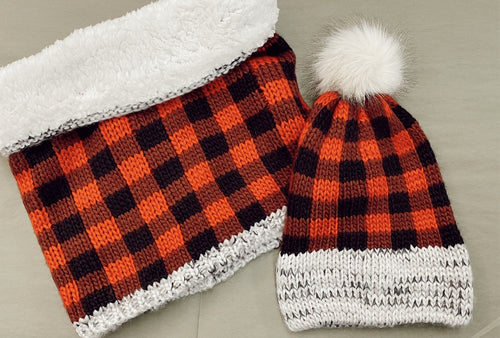 Sherpa Lined Buffalo Plaid Hat and Wide Neck Scarf Set
