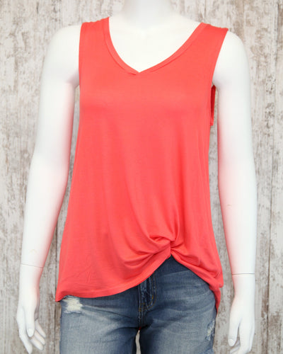 Knit V Neck Basic Soft Tank N2L22-ASIS