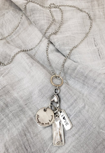 Silver 24In Necklace w Silver Always in My Heart Disk w Silver Love Charm & Lg Silver Crystal Charm