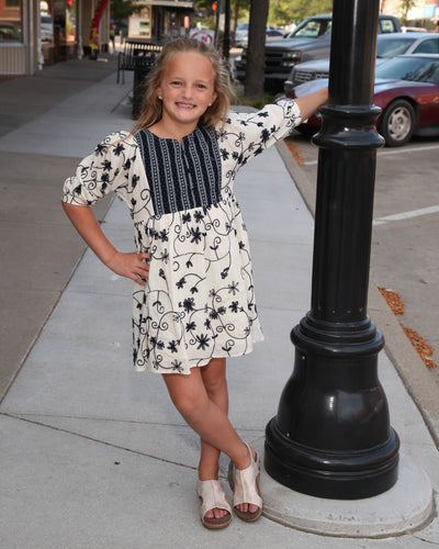 KIDS Floral Embroidered Tunic Dress