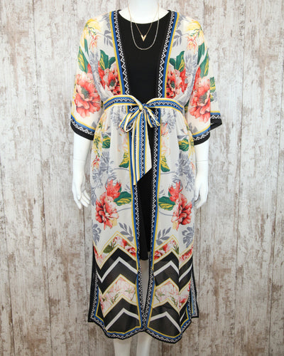 Cover Up Duster Jacket w Kimono Slvs and Floral Chevron Print w Tie