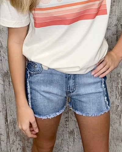 GIRLS Frayed Colorblock Denim Shorts