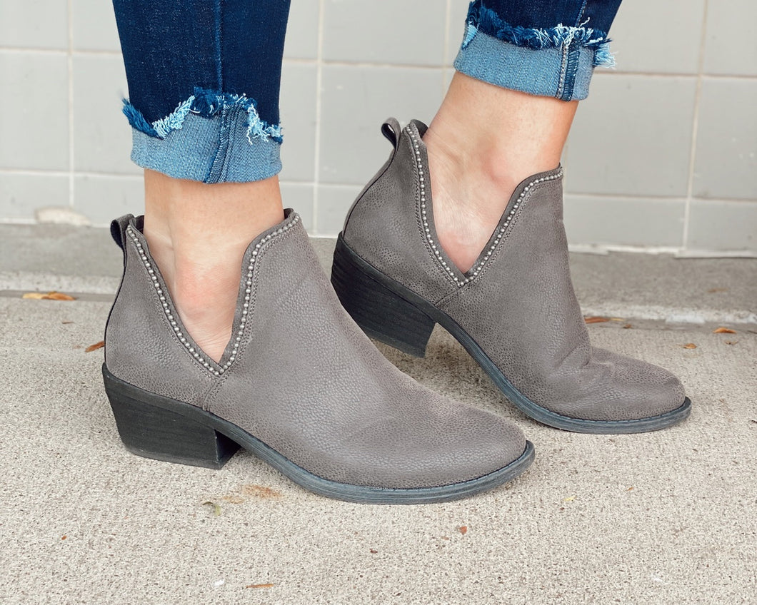 Megan Slip On Bootie w Cut Out Design