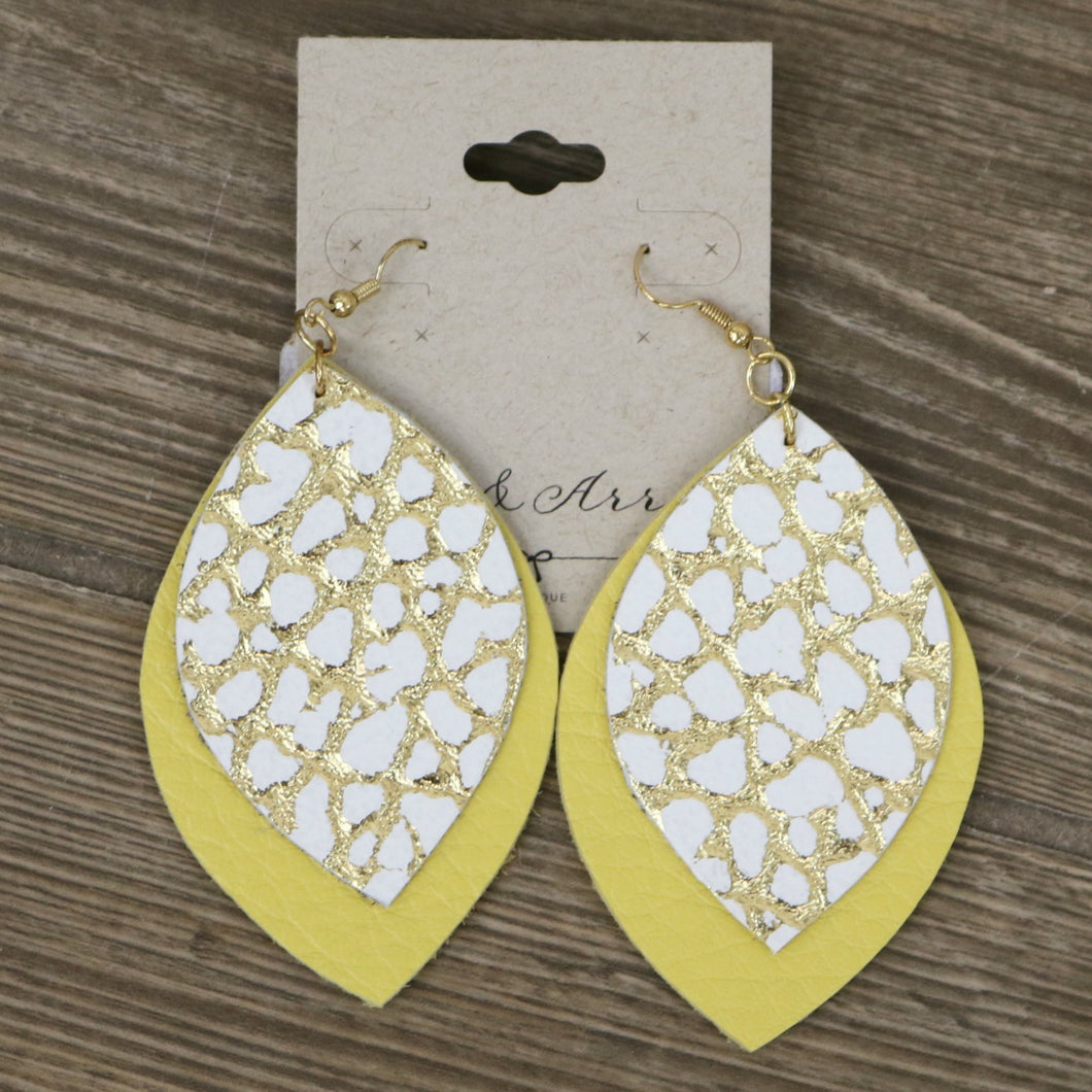 Large Double Leaf Leather Earring