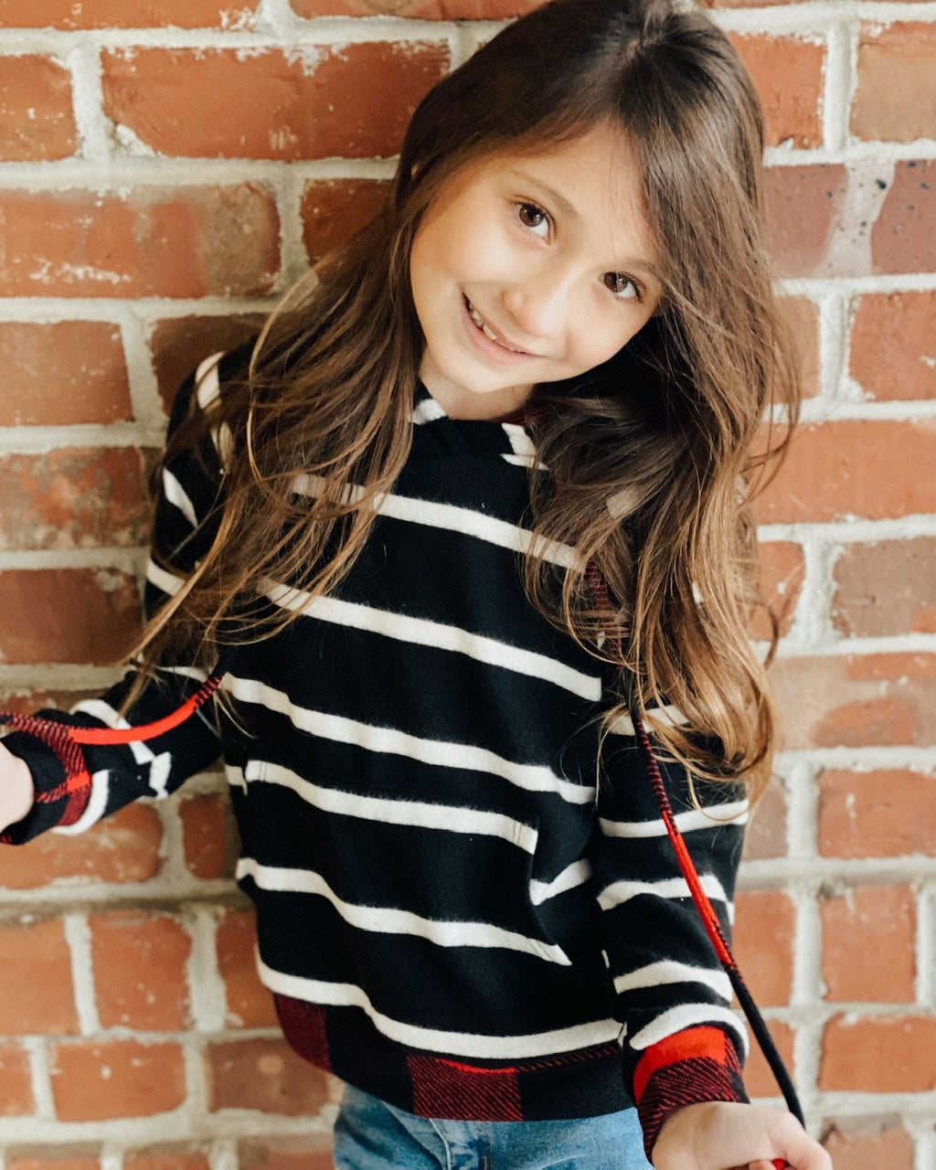GIRLS Striped Hoodie w Buffalo Plaid Accents
