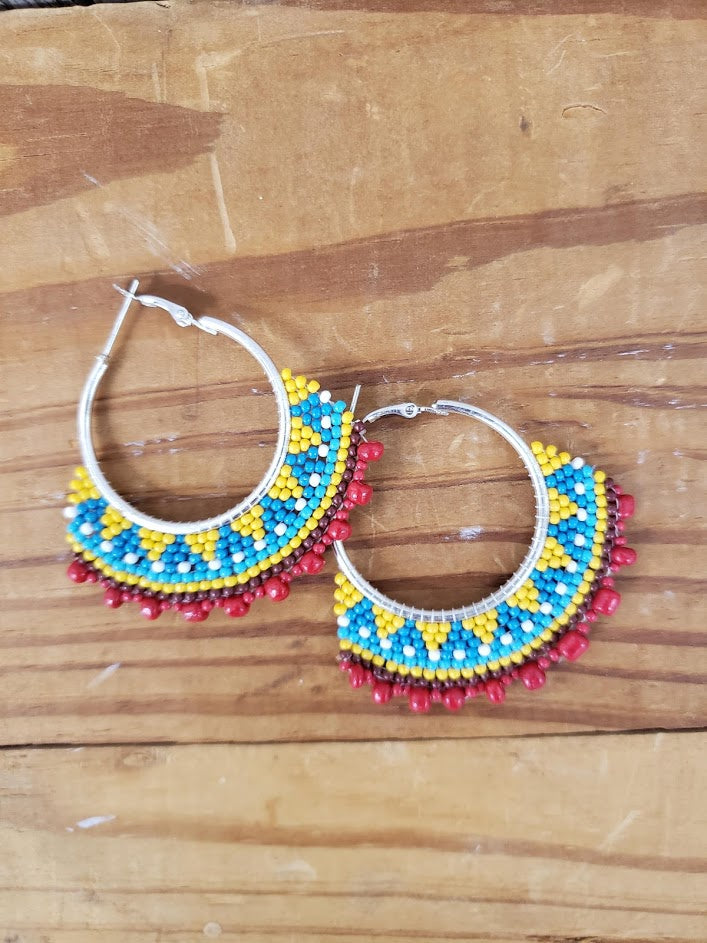 Summer Garden Beaded Hoop Earrings JE20127