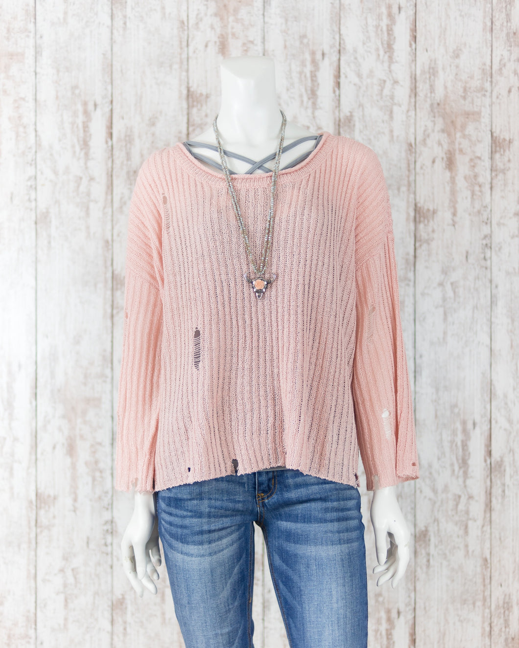 Sheer Knitted Distressed Sweater Top