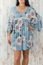 Floral Print Surplice Babydoll Dress w Crochet Hem B2080