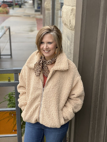 Faux Sheep Fur Zip Up Front Lined Jacket w Pockets ET12698-1