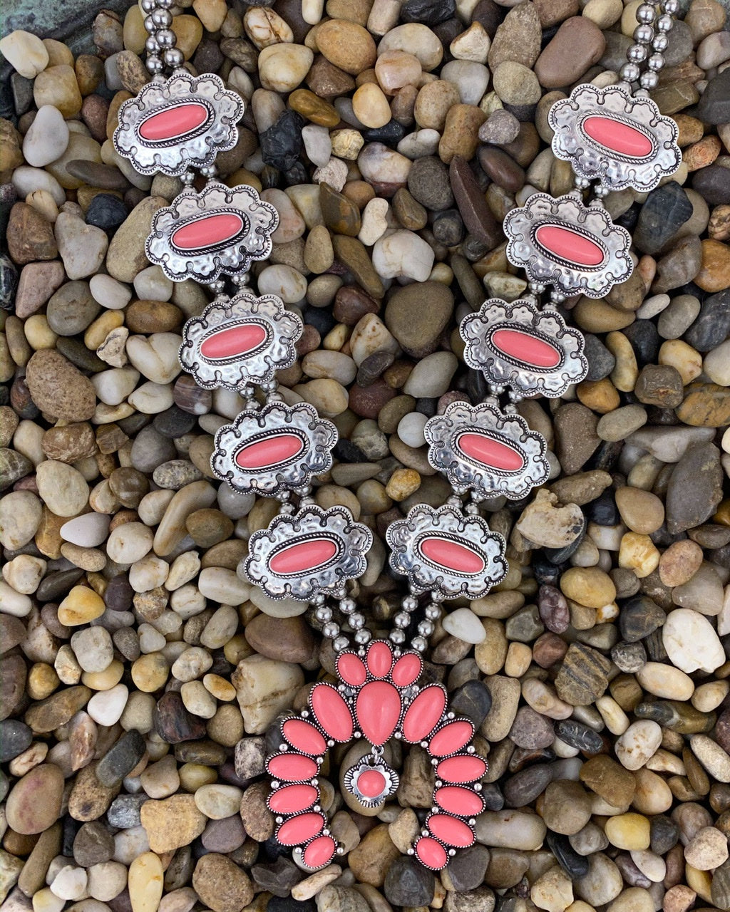 Patsy Squash Blossom Necklace in Coral and Burnished Silver