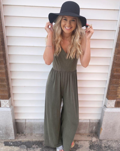 V Neck Knit Jumpsuit w Adjustable Spaghetti Straps 5438P