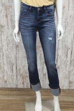 Straight Leg Cuffed Washed Jeans 8277REG