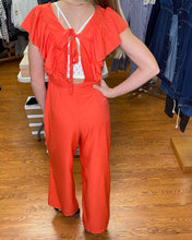 V Neck Jumpsuit w Flutter Slvs and Open Back w Tie FL20F513