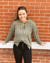 Ethyl Crocheted Short Sweater w Long Slv and Half Button at Neck