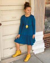 KIDS Tiered Three Qtr Length Slv Knit Dress