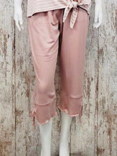 Wide Leg Capri Pants w Ruched Tie Detail and Elastic Waist