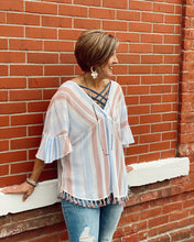 Multi Striped Gauze Top w Tassel Hem