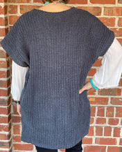 High Low SS Chenille Thread Sweater w Side Slits w V Neck JST349
