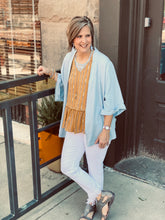 Washed Linen Cardi w Rolled Dolman Slv and Front Pockets