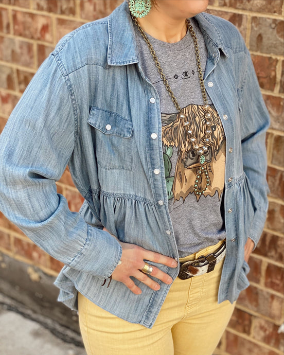 Ivy Jane Snappy Denim Long Slv Ruffled Shirt Jacket