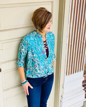 Lucia Embroidered Floral Button Down Long Slv Blouse w No Collar
