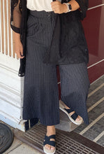 Striped Button and Zip Front Wide Leg Pants w Pockets and Elastic Waist