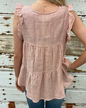 Striped Babydoll Top w Embroidered Vertical Design w Ruffled Slvs