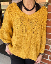 Slouchy Cable Knit Sweater w Dropped Shoulder w Balloon Slvs