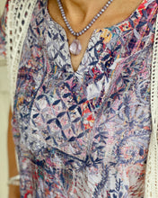 Zola Embroidered Tunic Dress w Embroidered Cap Slvs and Cutout V at Neck