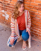 Crocheted Striped Lt Weight Cardigan Sweater