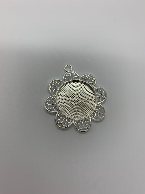 Silver Flower Necklace Blank