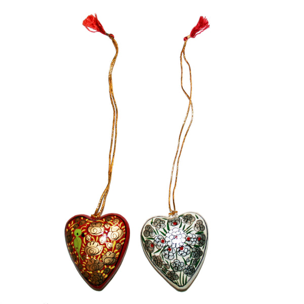 Hand-painted Papier-mâché Christmas Ornaments from Kashmir: Hearts pack of 4 - Exotic Homewares