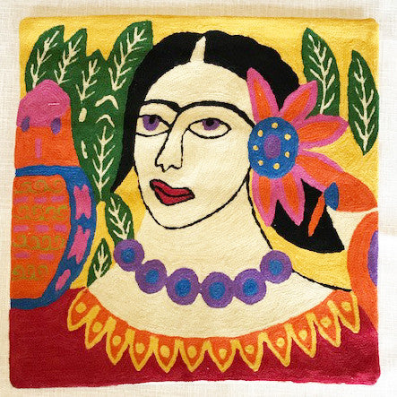 Pure Wool Embroidered Cushions from Kashmir - Frida Kahlo 2