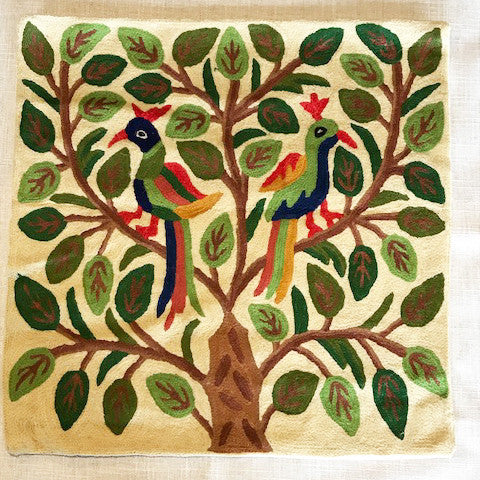 Pure Wool Embroidered Cushions from Kashmir - Tree and birds - Exotic Homewares