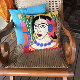 Pure Wool Embroidered Cushions from Kashmir - Frida Kahlo 2 - Exotic Homewares