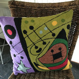 Pure Wool Embroidered Cushions from Kashmir - Miro 1 - Exotic Homewares