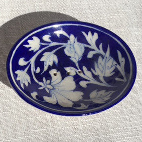 Hand-painted Trinket/Soap Dish from Jaipur: Blue & White