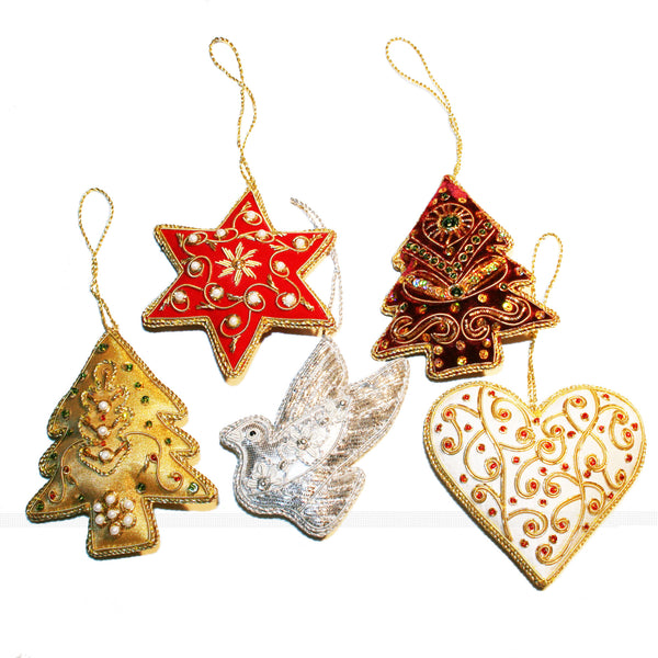 Hand-embroidered Christmas Ornaments from West Bengal-pack of 5 - Exotic Homewares