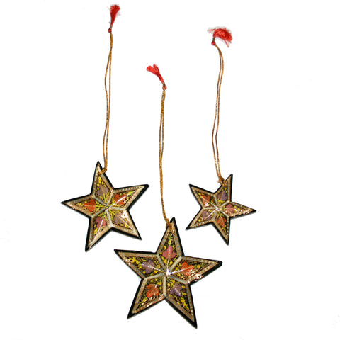 Hand-painted Papier-mâché Christmas Ornaments from Kashmir: Bell & Stars pack