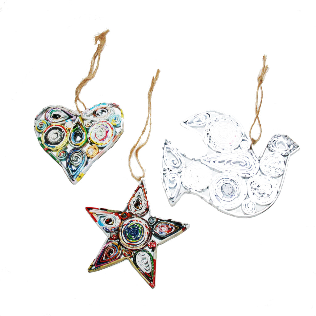 Handmade Recycled Paper Christmas Ornaments from Vietnam-Heart, Star and Dove - Exotic Homewares