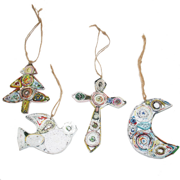 Handmade Recycled Paper Christmas Ornaments from Vietnam-Tree, Dove, Cross and Moon - Exotic Homewares