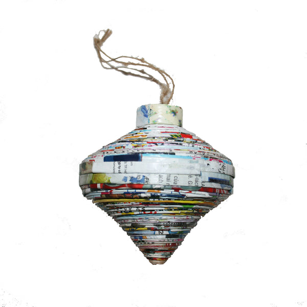 Handmade Recycled Paper Christmas Ornaments from Vietnam-teardrop - Exotic Homewares
