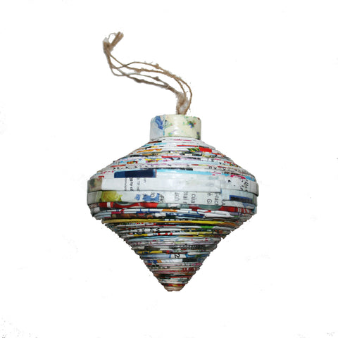 Handmade Recycled Paper Christmas Ornaments from Vietnam-teardrop