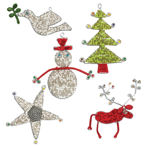 Hand-beaded Christmas Ornaments from South Africa, set of 5 pieces - Exotic Homewares