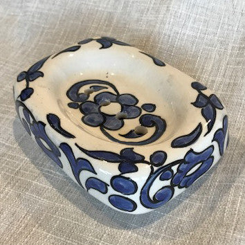 Hand-painted Soap Dish from Morocco-Blue and White 3