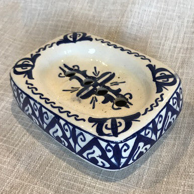 Hand-painted Soap Dish from Morocco-Blue and White 5