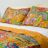 100% Cotton Quilt and 2 matching pillow cases from Jaipur - Gold - Exotic Homewares